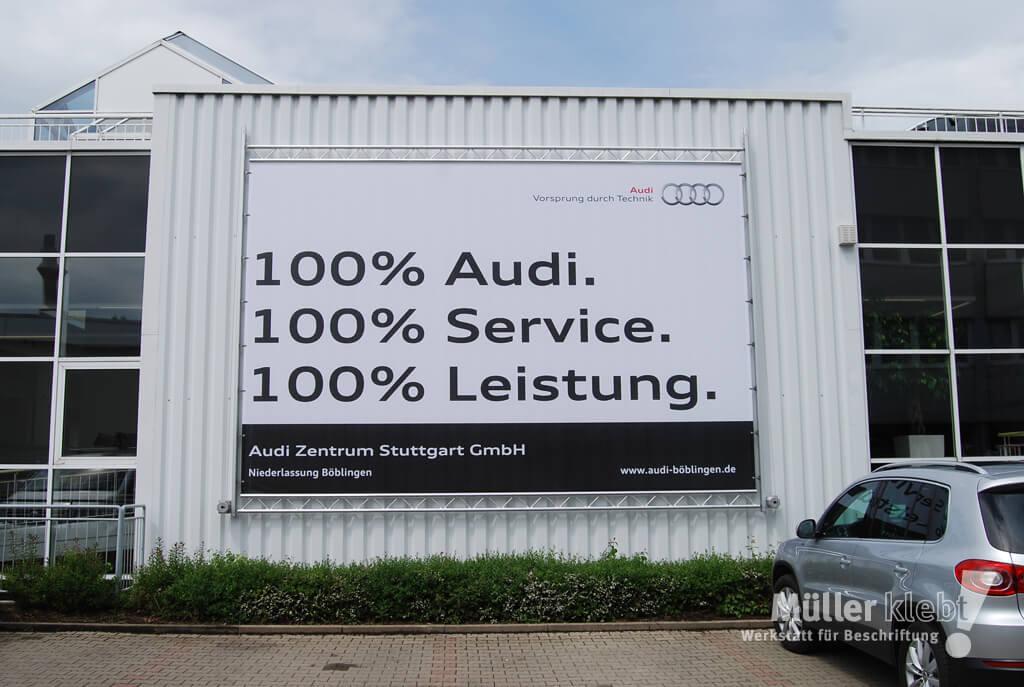 Müller klebt! Leonberg Banner Werbesystem Audi Zentrum Stuttgart