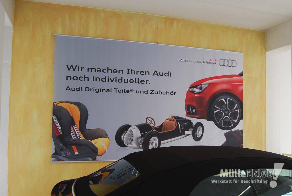 Müller klebt! Leonberg Banner und Werbesystem Audi