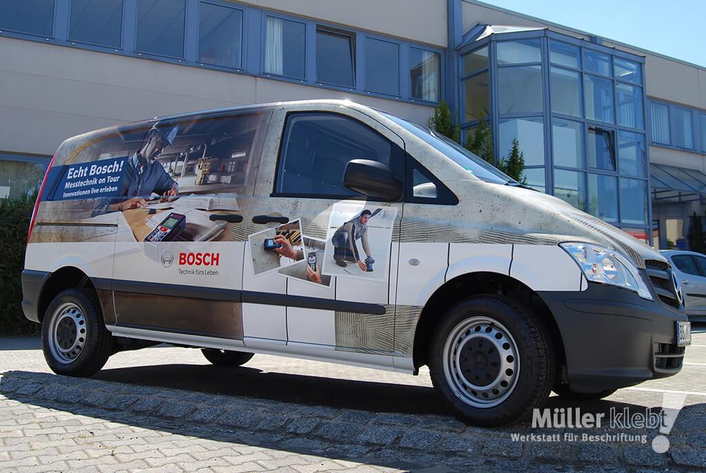 Müller klebt! Leonberg Fahrzeugbeschriftung Digitaldruckfolie Vito Bosch