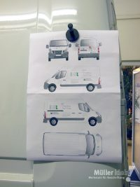 Müller klebt! Leonberg Fahrzeugbeschriftung Nissan NV400 Entwurf