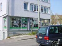 Müller klebt! Leonberg Schaufensterbeklebung Schwarz Türen